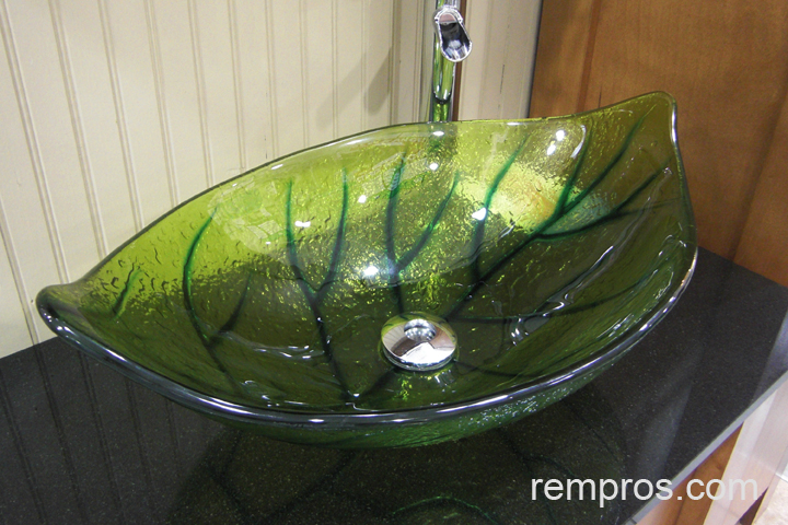 Green Glass Vessel Bathroom Vanity Sink