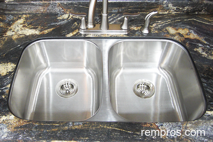 Double Bowl Undermount Stainless Steel Kitchen Sink Installed