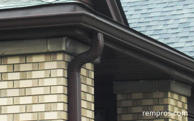 Brown Aluminum Gutters Downspouts